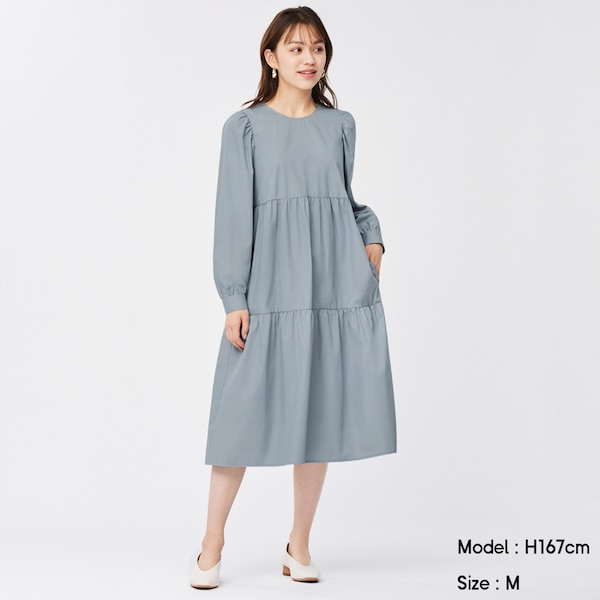 ティアードワンピース(長袖)-BLUE