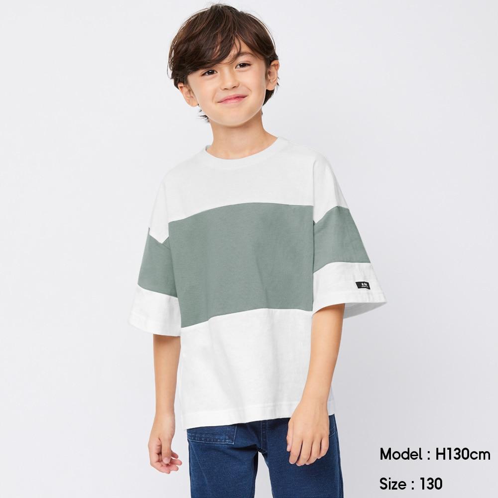 (GU)BOYSバイカラービッグT(5分袖)A