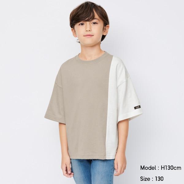 BOYSバイカラービッグT(5分袖)B-BEIGE