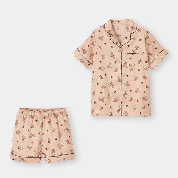 サテンパジャマ(半袖&ショートパンツ)(スイカ)+X