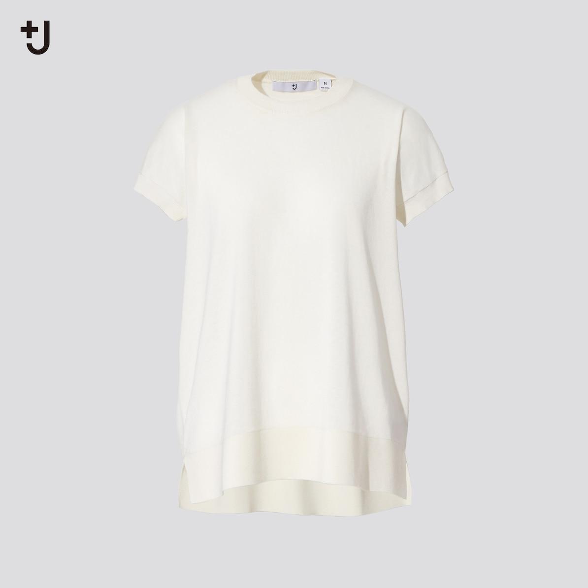 シルクコットンクルーネックセーター(半袖)