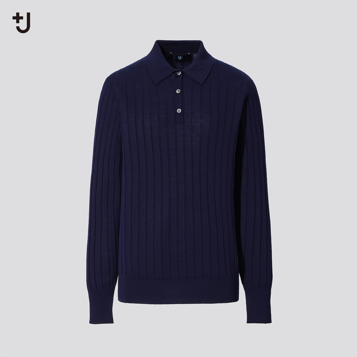 シルクコットンニットポロシャツ(長袖)