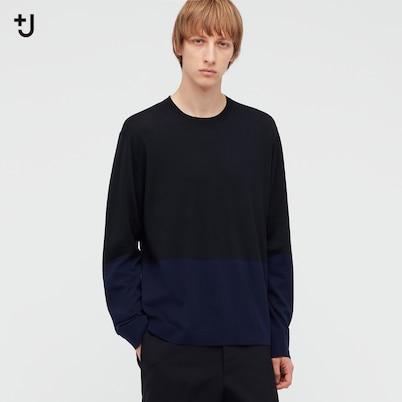シルクコットンクルーネックセーター(長袖・カラーブロック)