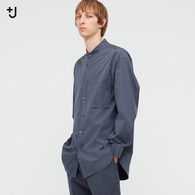 スーピマコットンオーバーサイズスタンドカラーシャツ(長袖)