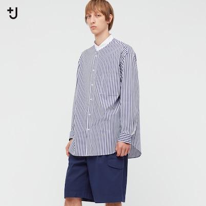 スーピマコットンオーバーサイズスタンドカラーシャツ(長袖・ストライプ)