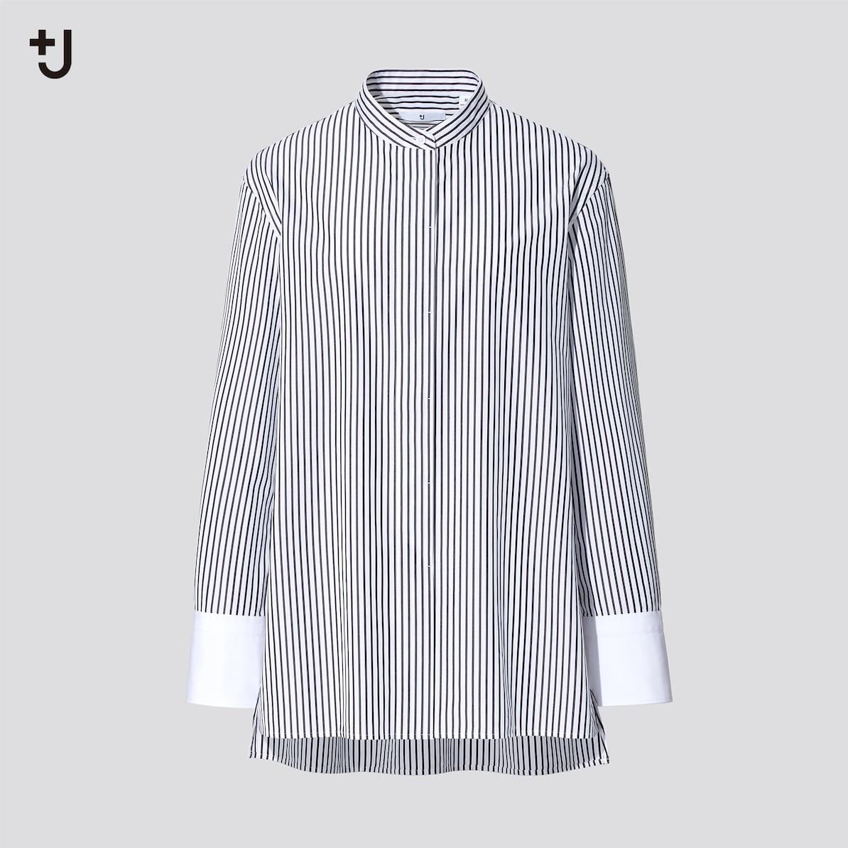 スーピマコットンスタンドカラーストライプシャツ(長袖)
