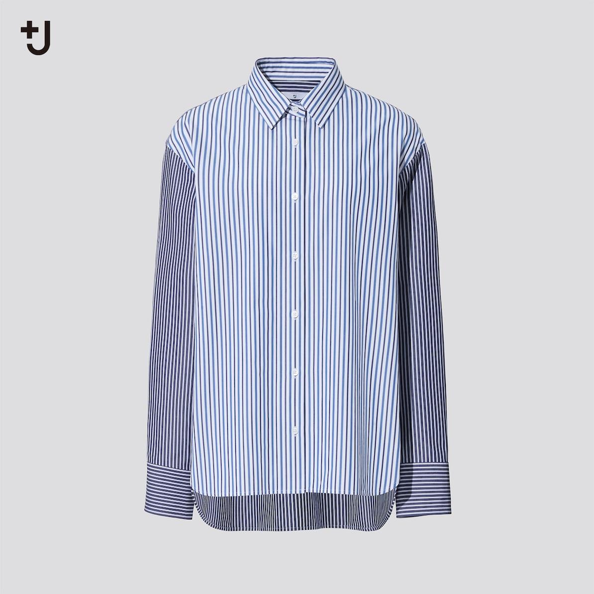 スーピマコットンオーバーサイズストライプシャツ(長袖)