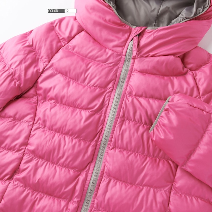 Girls Light Warm Padded Parka, Pink, Large