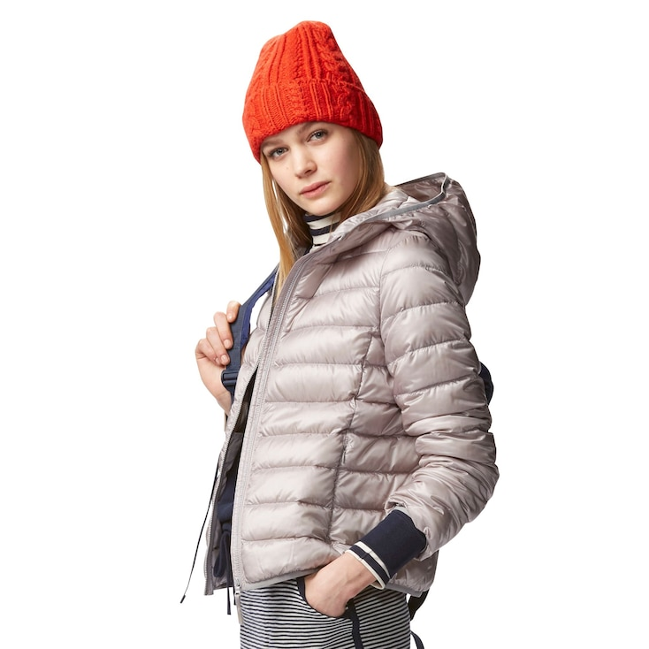 Women Ultra Light Down Hooded Jacket, White, Large