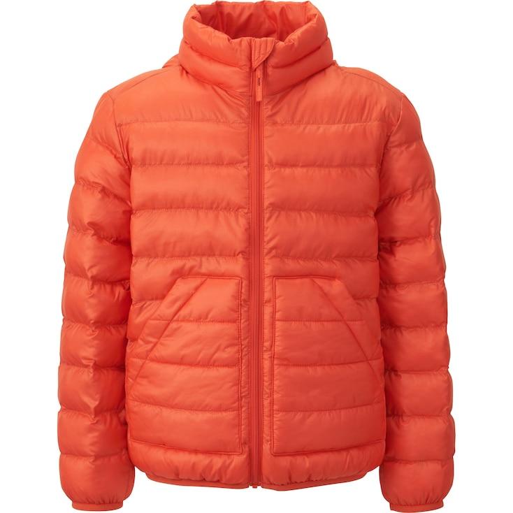 Boys Light Warm Padded Jacket, Orange, Large