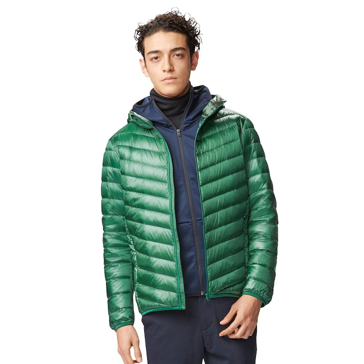 MEN ULTRA LIGHT DOWN HOODED JACKET, GREEN, large