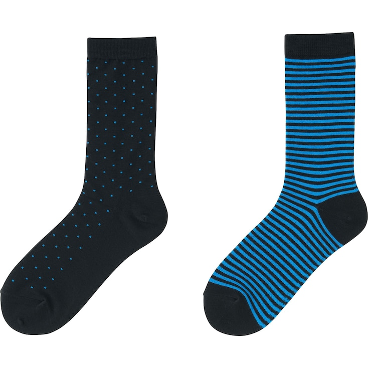 Women Heattech Socks 2 Pairs (Dot), Blue, Large