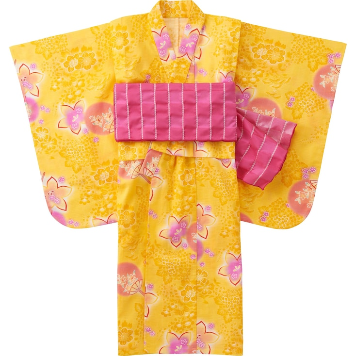 Girls Yukata, Yellow, Large