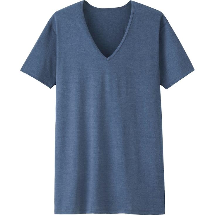 Men Airism V-Neck T-Shirt (Short Sleeve), Blue, Large