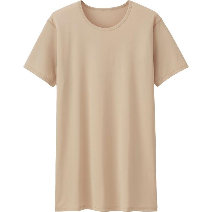Men's AIRism Mesh Crew Neck T-Shirt, BEIGE, large