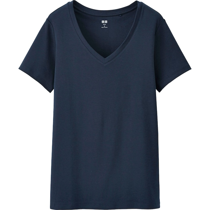 Women'S Supima® Cotton V-Neck T-Shirt, Navy, Large