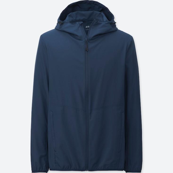 Men Lightweight Packable Hooded Jacket, Blue, Large