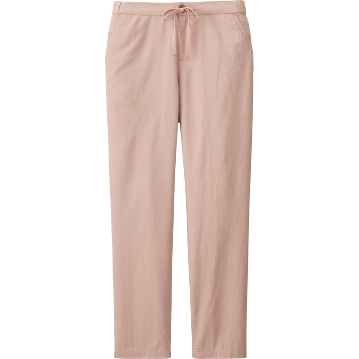 Women Cotton Linen Relaxed Pants, Pink, Large
