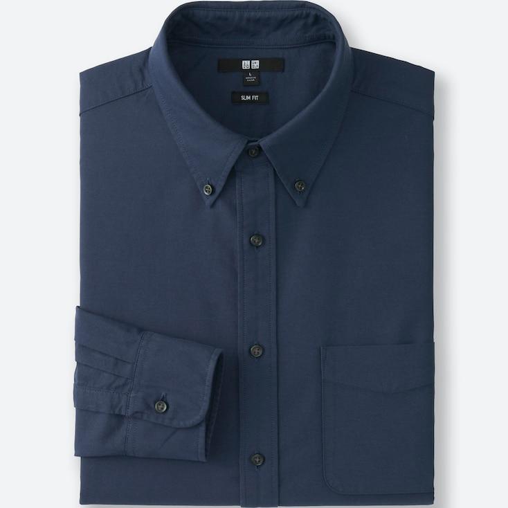 Men Oxford Slim-Fit Long Sleeve Shirt, NAVY, large