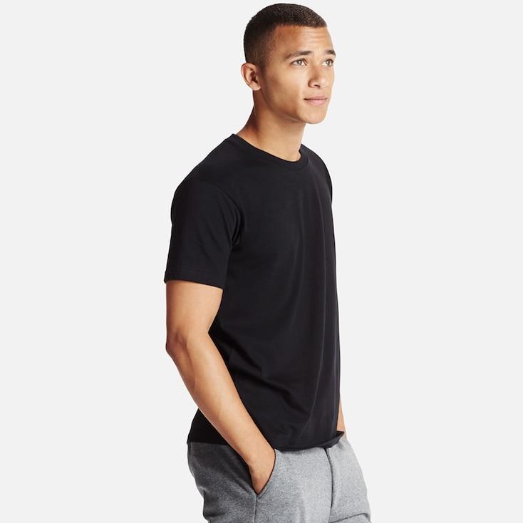 Men Dry Crew Neck T-Shirt, Black, Large