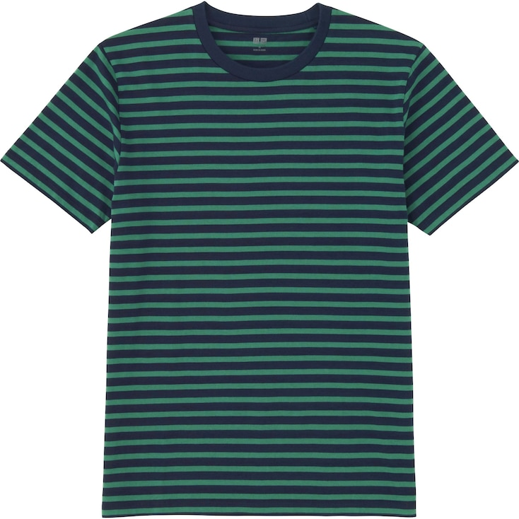Men Washed Striped T-Shirt, Green, Large