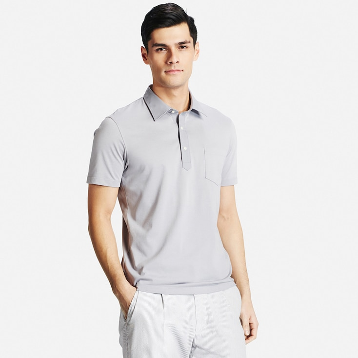 Men Dry Polo Shirt, Light Gray, Large