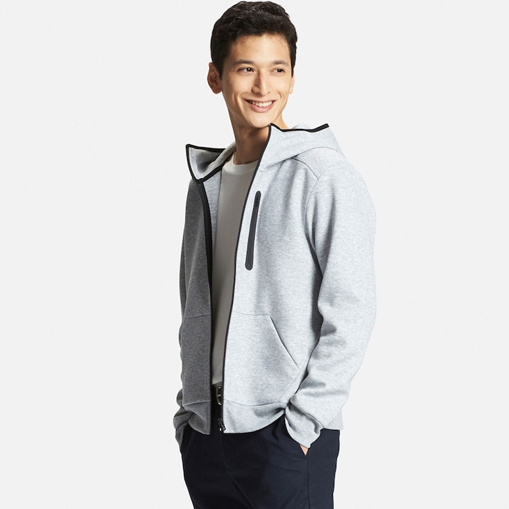 Men's DRY Stretch Zip-Up Hoodie, GRAY, large