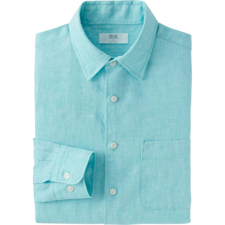 Men Premium Linen Long Sleeve Shirt, Green, Large