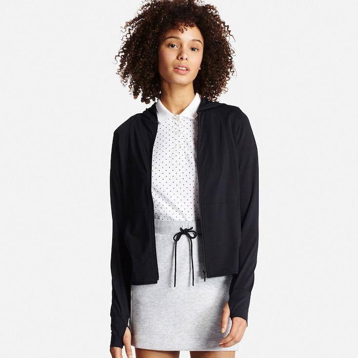 Women Airism Uv Cut Mesh Zip-Up Hoodie, Black, Large