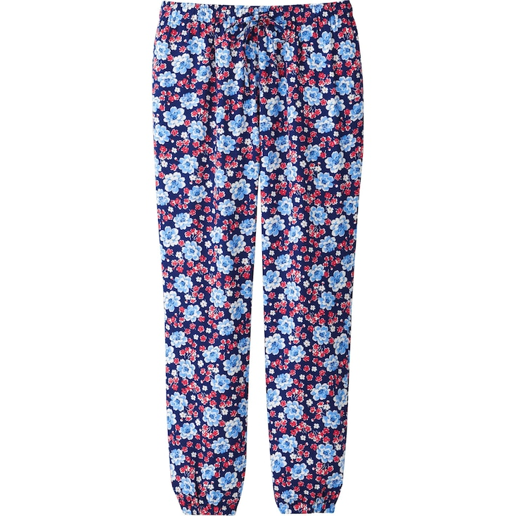 Women Draped Mixed Flower Print Pants, Blue, Large