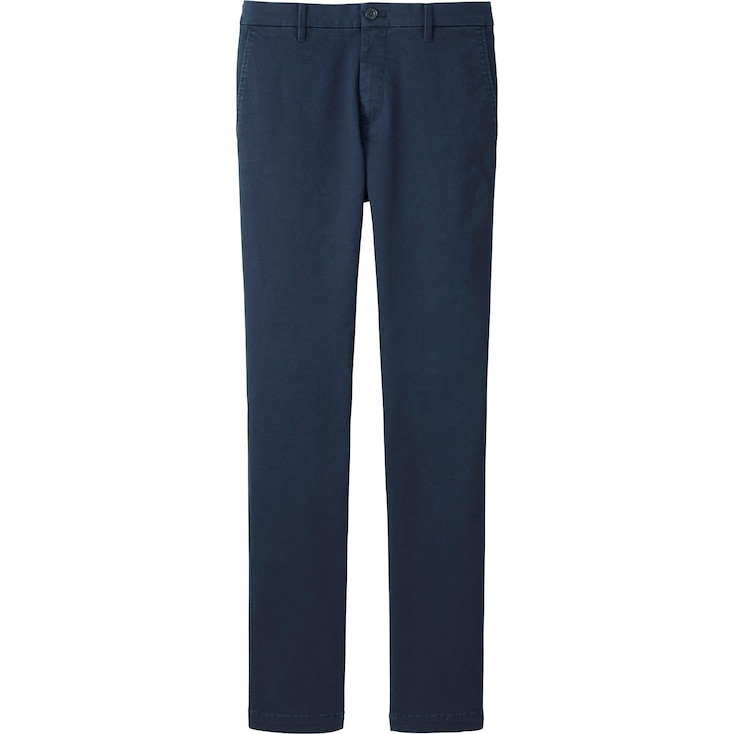 Men'S Ultra Stretch Chino Flat Front Pants, Navy, Large