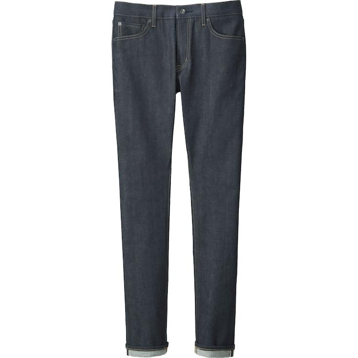Men'S Stretch Selvedge Skinny Jeans, Navy, Large