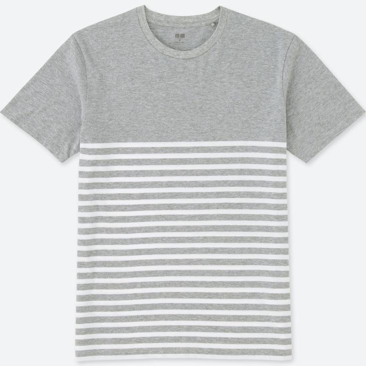 Men Washed Striped T-Shirt, Gray, Large