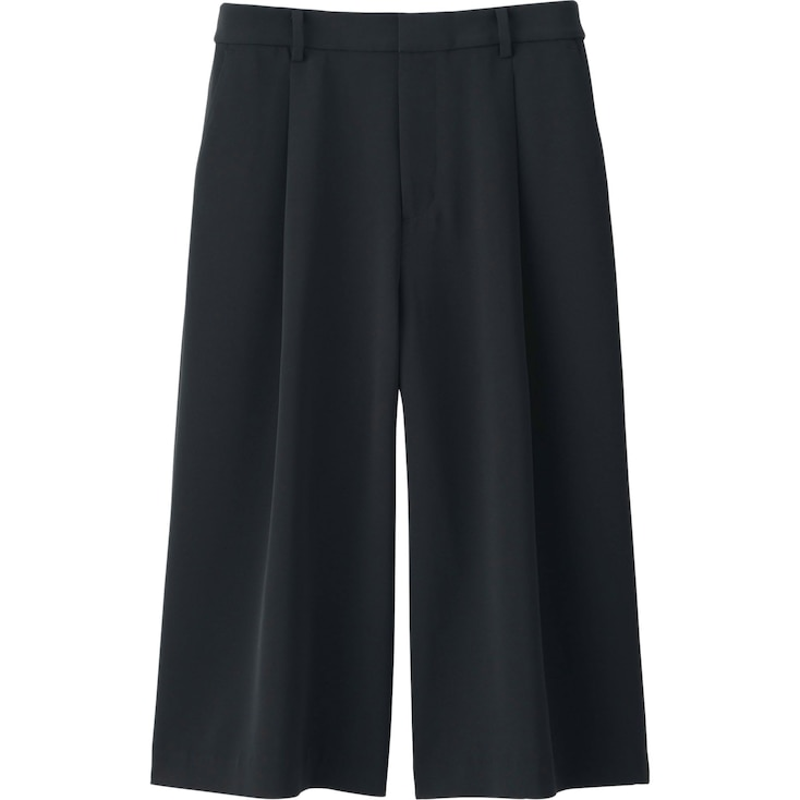 Women Draped Gaucho Pants, BLACK, large