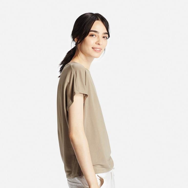 Women Draped T-Shirt, Green, Large