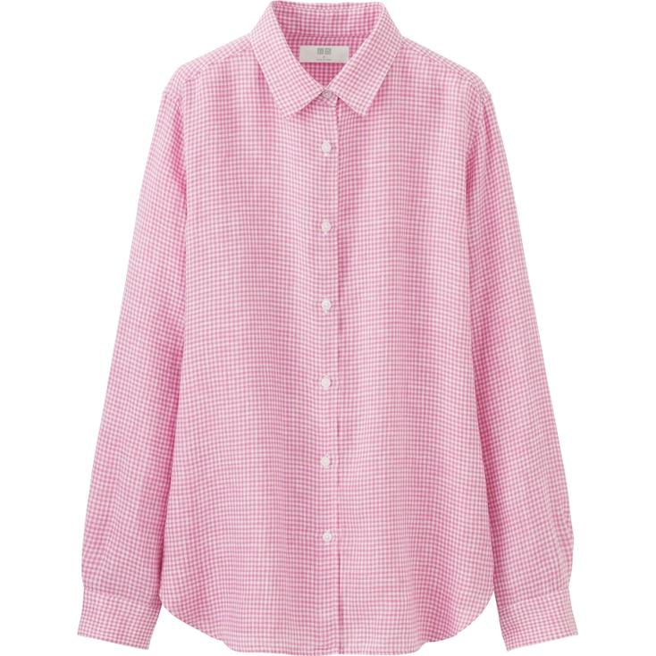 Women Premium Linen Patterned Long Sleeve Shirt, Blue, Large