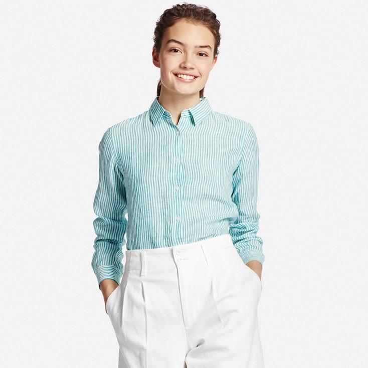 Women Premium Linen Patterned Long Sleeve Shirt, Green, Large