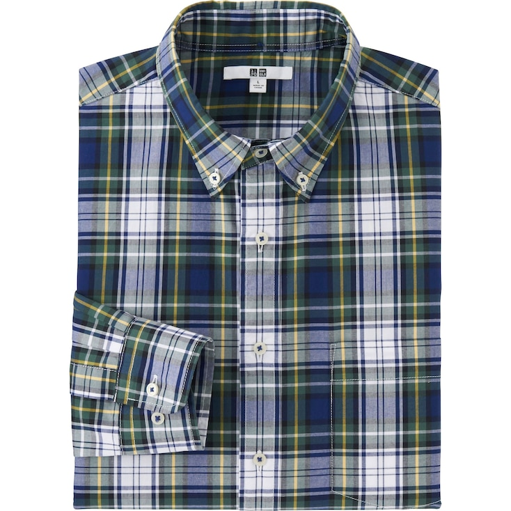 Men'S Extra Fine Cotton Broadcloth Checked Dress Shirt, Dark Green, Large