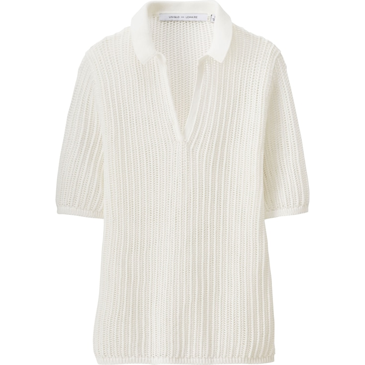 Women Lemaire Supima® Cotton 1/2 Sleeve Polo Sweater, Off White, Large