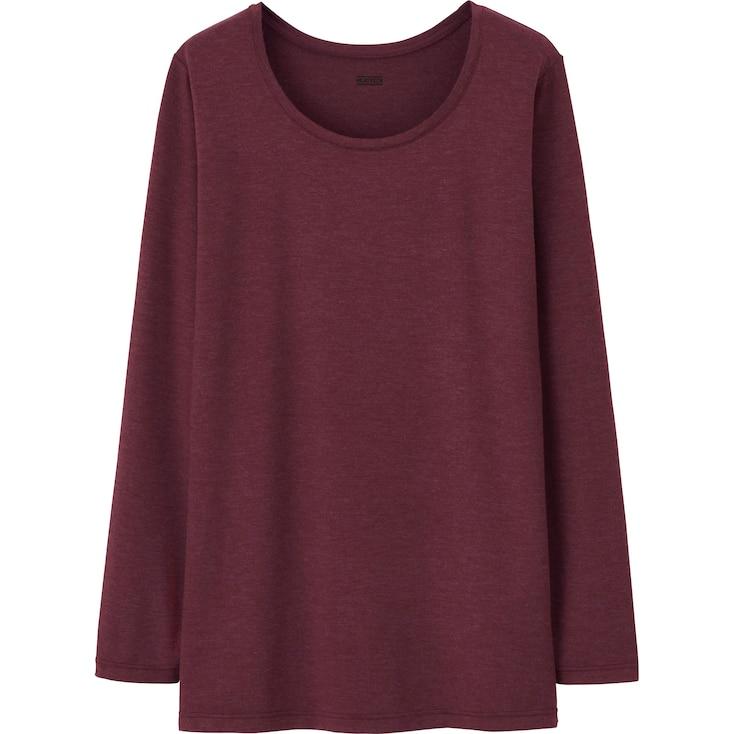 Women Heattech Crew Neck Long-Sleeve T-Shirt, Wine, Large