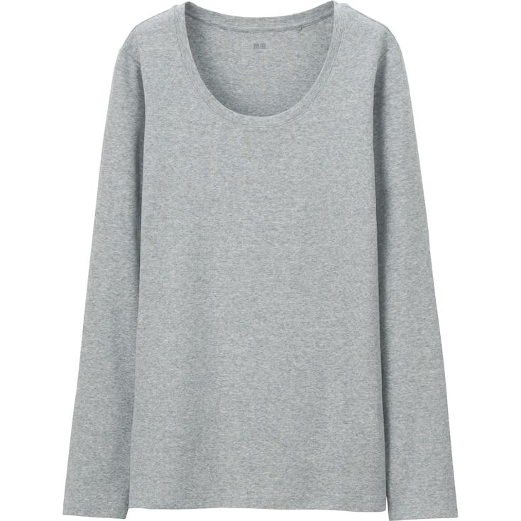 Women Supima® Cotton Crewneck Long Sleeve T-Shirt, Gray, Large