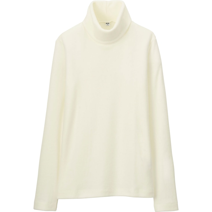 Women Heattech Fleece Turtle Neck Long Sleeve T, Off White, Large