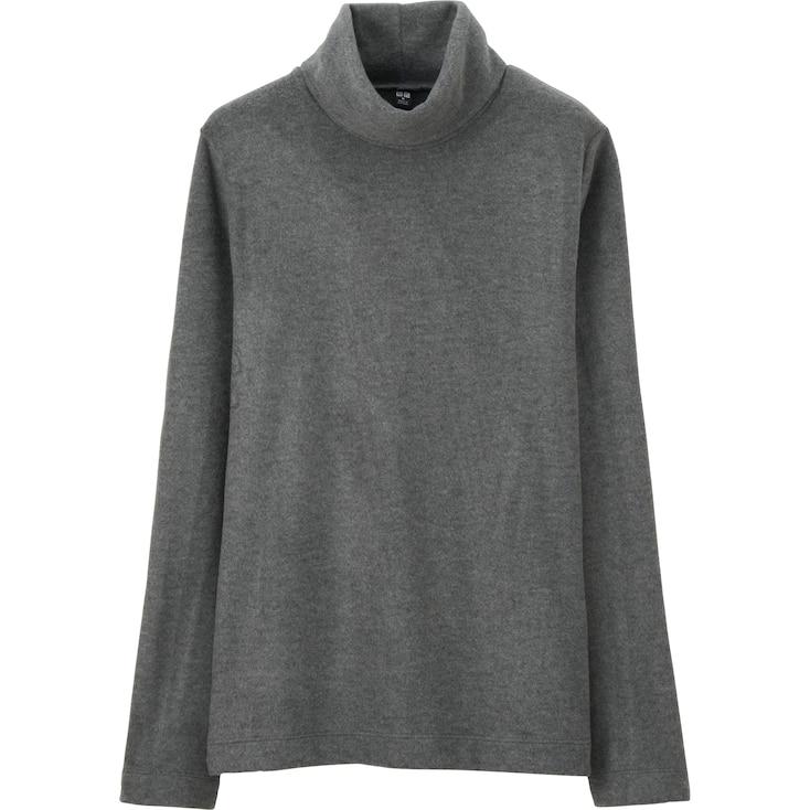 Women Heattech Fleece Turtle Neck Long Sleeve T, Dark Gray, Large