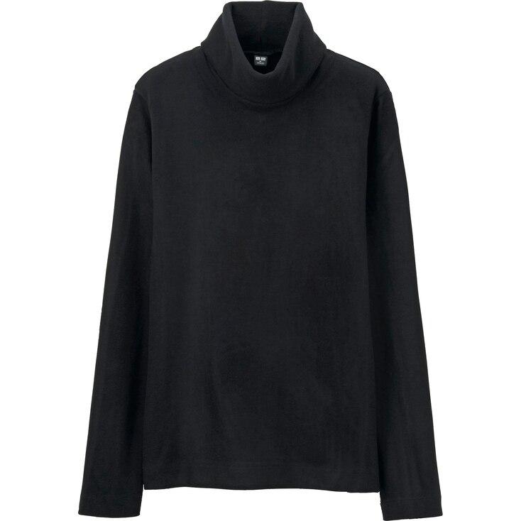 Women Heattech Fleece Turtle Neck Long Sleeve T, Black, Large