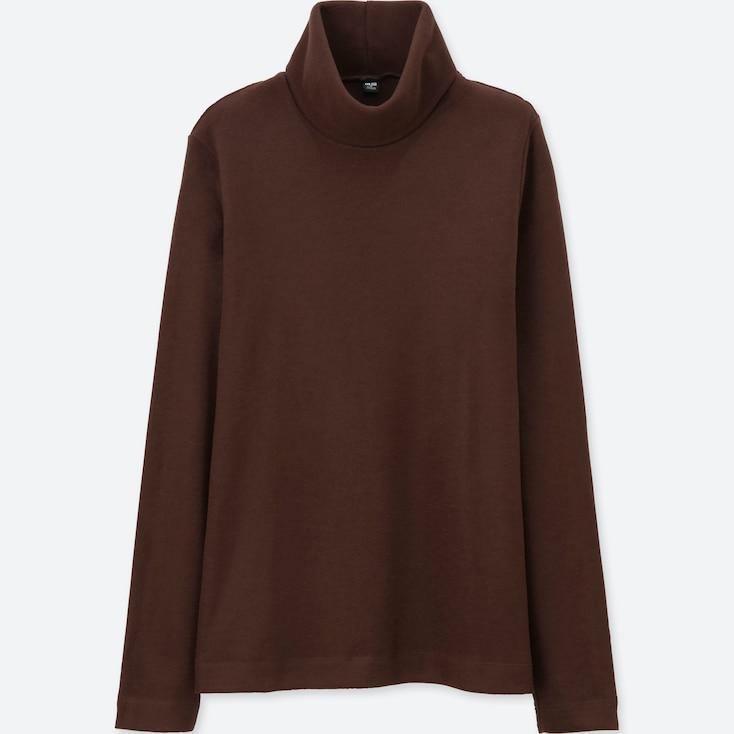 Women Heattech Fleece Turtle Neck Long Sleeve T, Dark Brown, Large