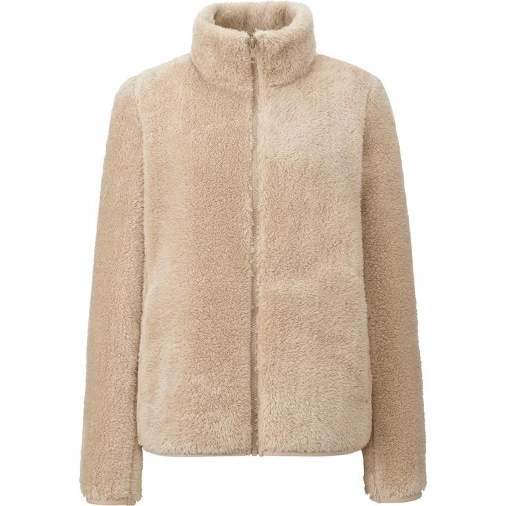 Women Fluffy Yarn Fleece Full Zip Jacket, Natural, Large
