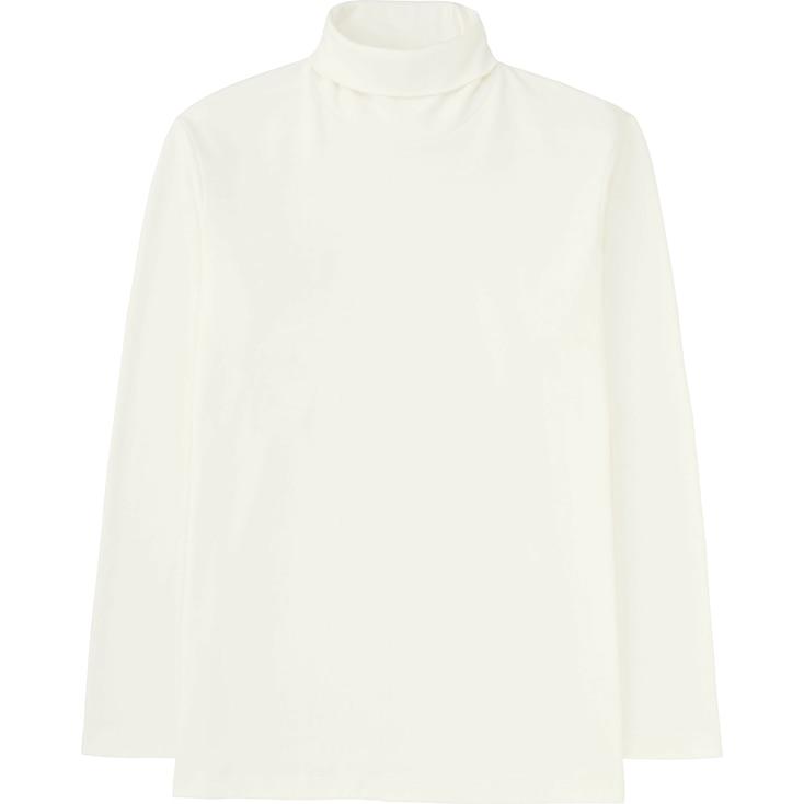 Men Soft Touch Turtleneck Long Sleeve T-Shirt, White, Large