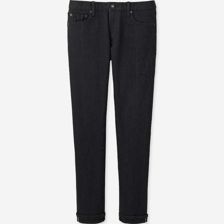 Men Selvedge Skinny Fit Jeans, Black, Large