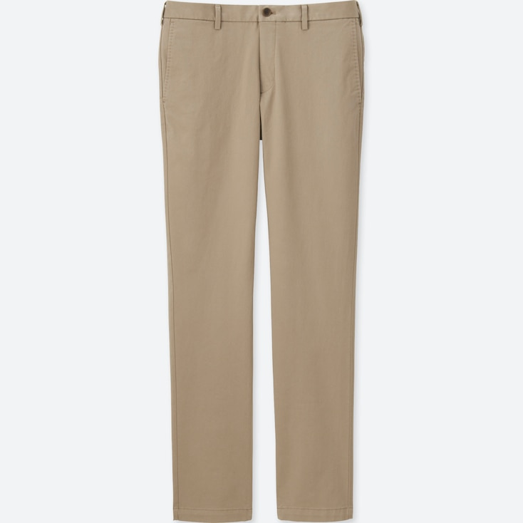 MEN SLIM FIT CHINO FLAT FRONT PANTS, BEIGE, large
