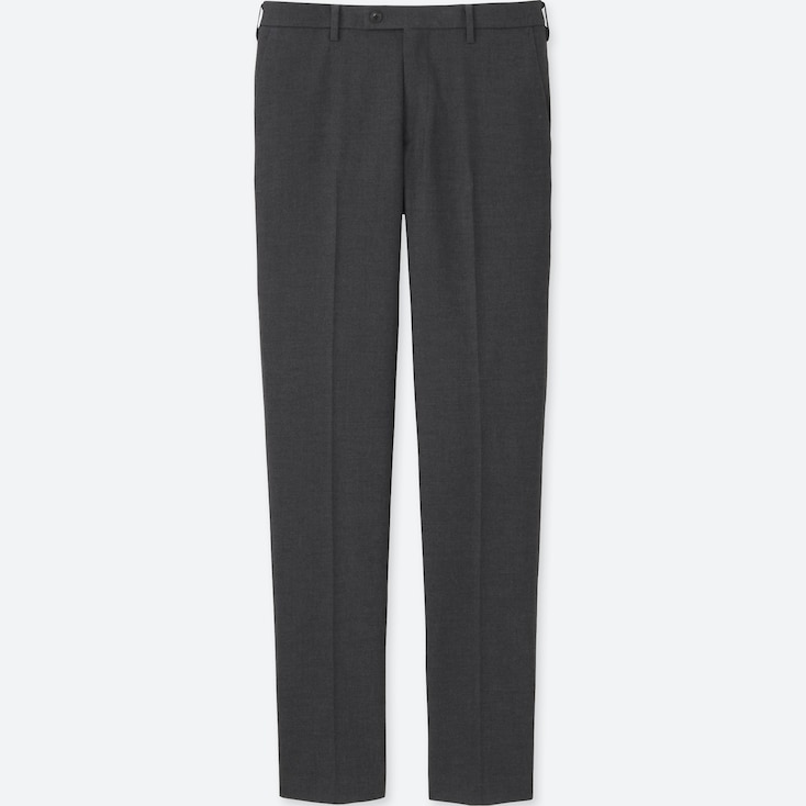 Men Heattech Stretch Slim Fit Flat Front Pants, Dark Gray, Large